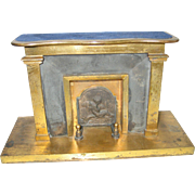 English antique doll house vignette Brass cherub large fireplace