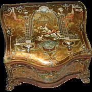 Antique French serpentine Dresser box Embossed Cherubic Scenes