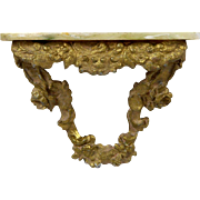 Antique dollhouse doll vignette Floating Console Table gilt brass frame marble top