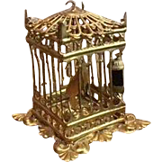 Antique German Miniature Doll House ormolu Erhard Söhne decorative large square bird cage