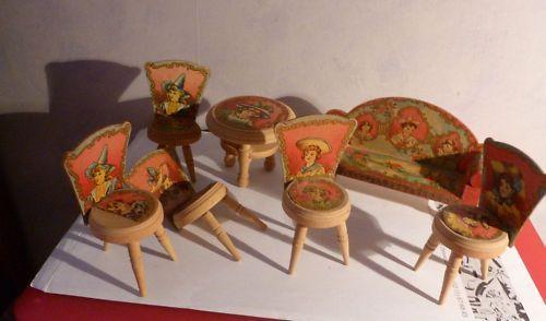 Antique Bliss Paper On Wood Scenic Children Doll House Furniture Original  Box Set