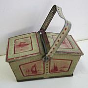 Antique German Tin litho Miniature Picnic basket penny toy