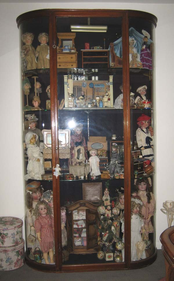 Antique American mahogany bowed glass vitrine display case cabinet ...