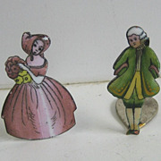 Porcelain antique enamel miniature couple place card holders