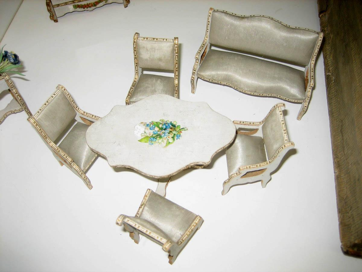 antique gottschalk french miniature dollhouse furniture blue silk from