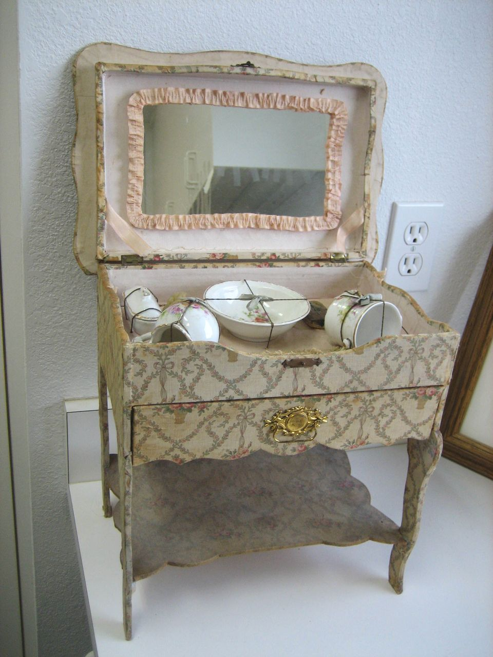 Antique all original French floral vanity toilette with mirror - Antique All Original French Floral Vanity Toilette With Mirror