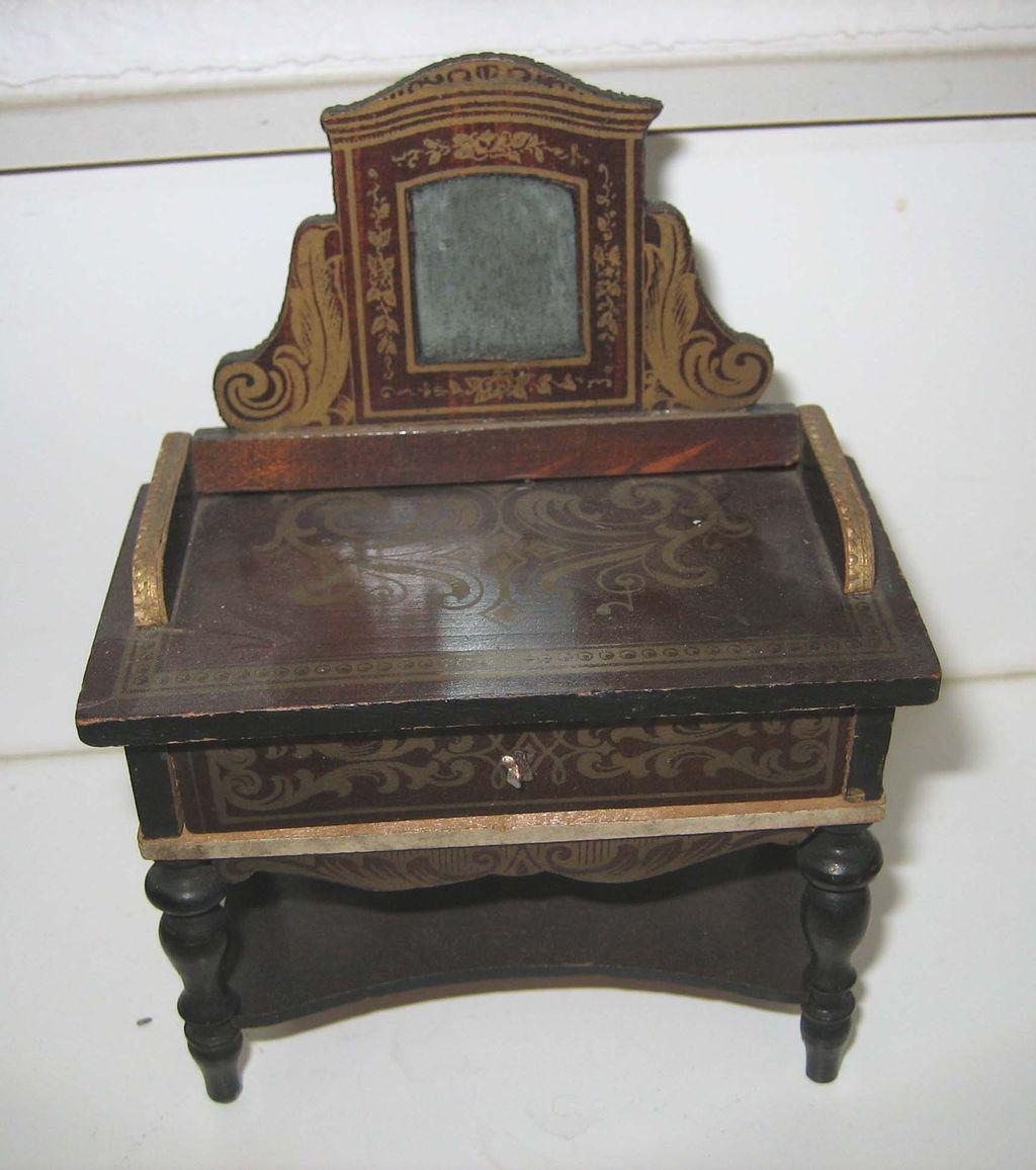 Antique doll house miniature Boule Biedermeier mirrored vanity