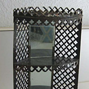 Antique dollhouse German Rock & Graner tin wood grain corner cabinet