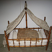 Antique French doll Faux Bamboo maplewood canopy bed