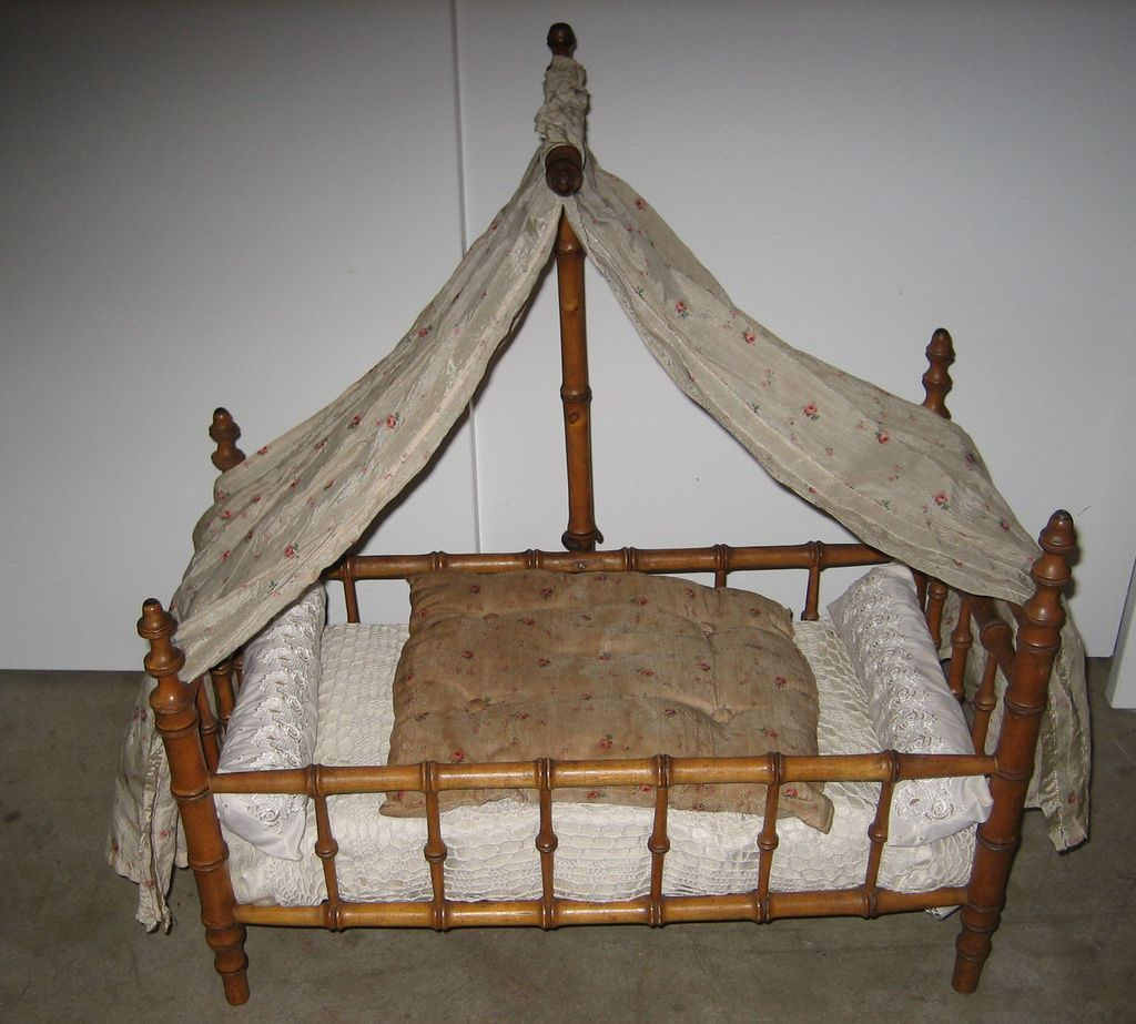 antique french doll faux bamboo maplewood canopy bed from