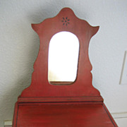 Victorian antique red cottage stenciled doll dresser with mirror