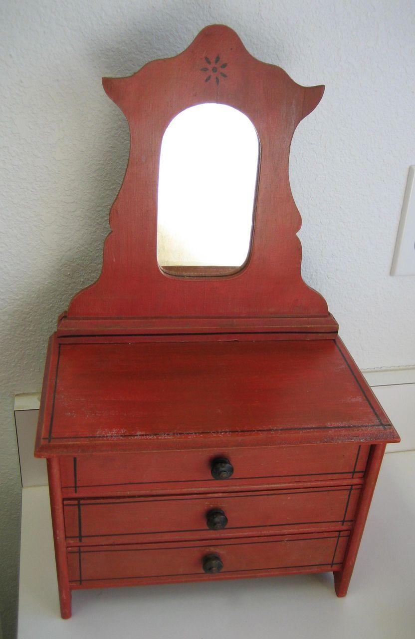 Victorian Antique Red Cottage Stenciled Doll Dresser With Mirror Sondra Krueger Antiques Ruby Lane