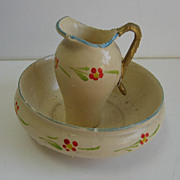 Antique German miniature doll house Treenware floral pitcher & bowl set
