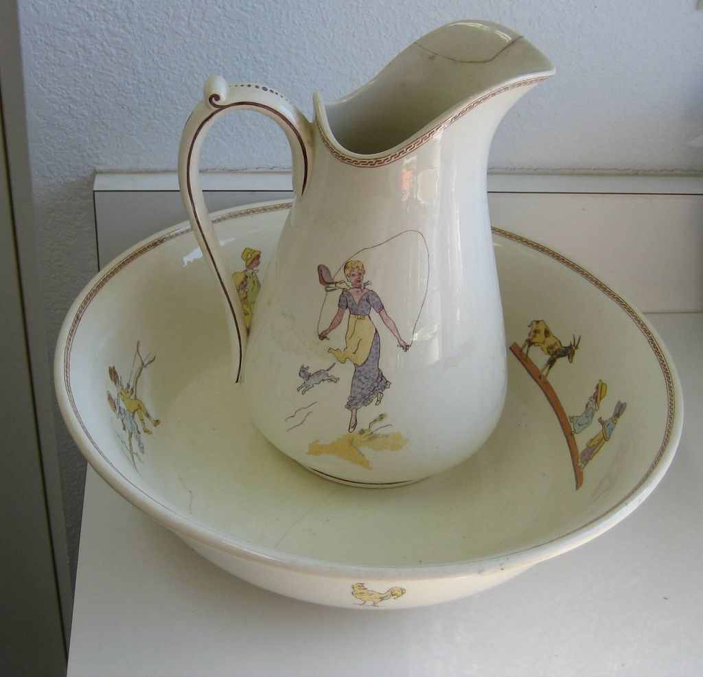 Antique Kate Greenaway French Sarreguemines Enfants Richard pitcher & bowl set