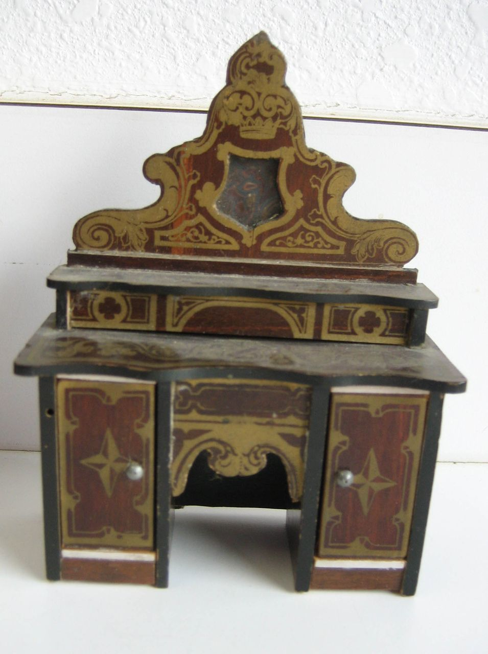 Antique doll house miniature Buffet Boule Biedermeier furniture gilt :  Sondra Krueger Antiques | Ruby Lane - Antique Doll House Miniature Buffet Boule Biedermeier Furniture Gilt