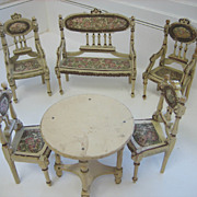Antique German miniature dollhouse Ornate Wood furniture Paul Leonhardt