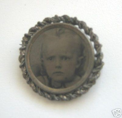 Antique baby picture Victorian lapel pin