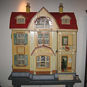 Very Large Antique German Gottschalk Red Roof doll house c1912