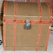 Antique Doll Dome Trunk drop front opening
