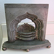 Antique cast metal miniature sample fireplace