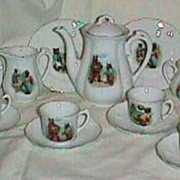 Antique Sporting Bears child's 28 piece antique German dinner & tea set  Early 1900s