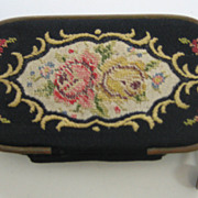 Antique French Miniature tapestry Necessaire Comb &  Mirror Embroidered case