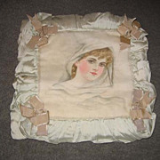 Vintage silk decorative painted lady  pillow Pale green