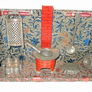 Antique German Nuremberg tin kitchen miniature Embossed walls