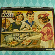 Antique German child's tin toy Kasse cash box