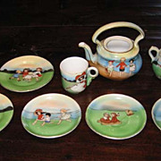 Royal Bayreuth antique child's tea set Sand  Beach Babies