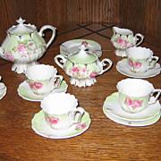 RS Prussia child's floral pedestal antique toy tea set service