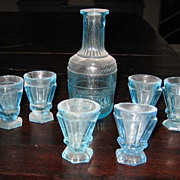 Antique miniature blue glass French decanter glass set