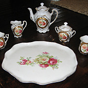 German fancy blank rose gilt antique toy chocolate tea set French fashion doll