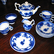 Victorian Child's antique Minton Flow Blue toy tea set c1850