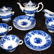 Antique Basket  English Flow Blue Child's tea set c1850