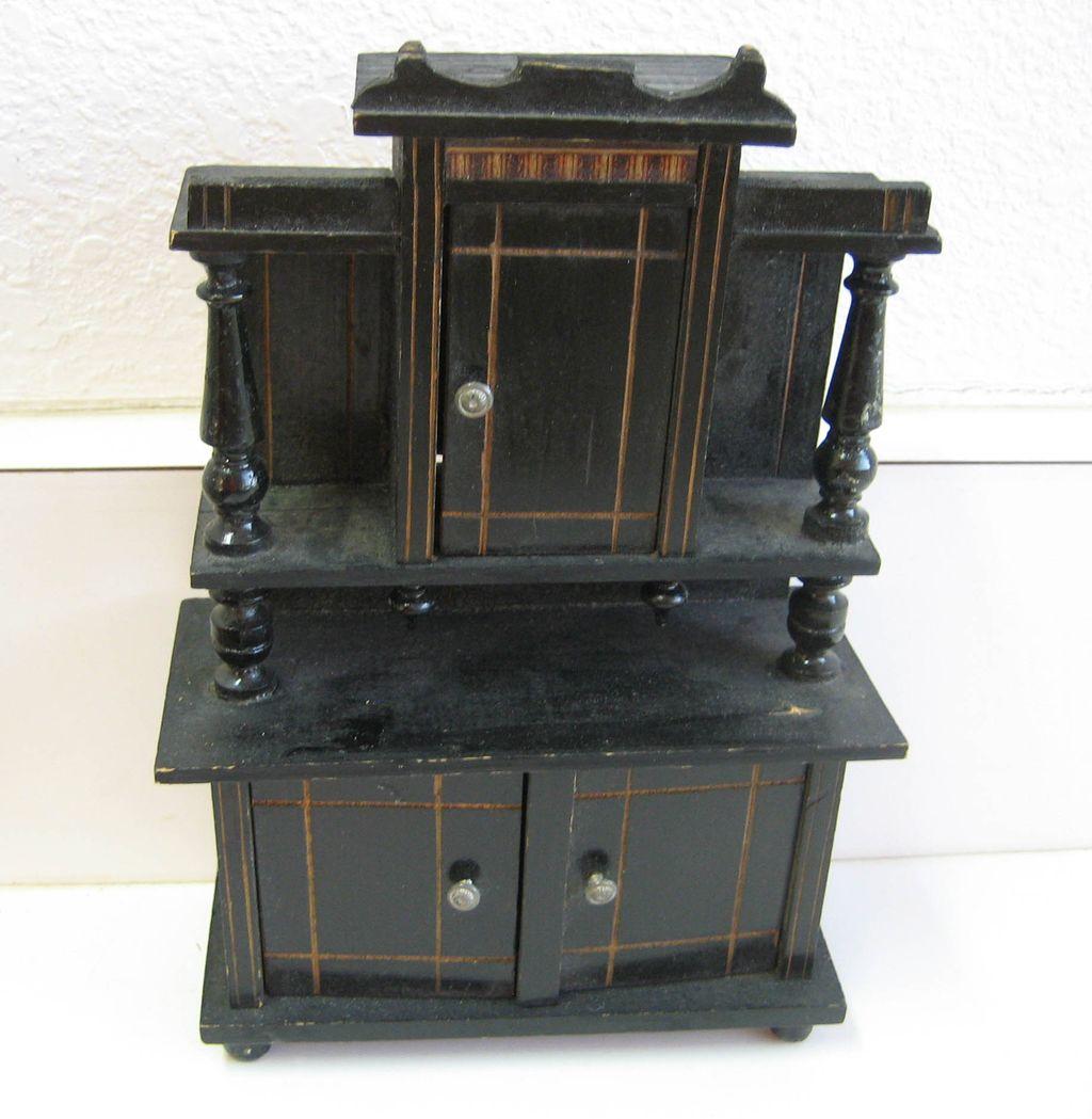 Antique German miniature buffet doll house cabinet