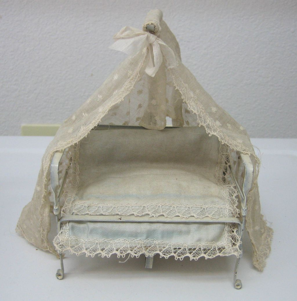 White tin canopy antique doll house miniature bed