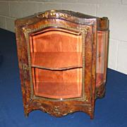 Large French antique miniature burled boule wood ormolu mounts glass Vitrine