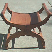Antique American oak decorative bustle bench chair