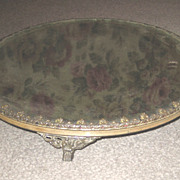 Antique silver metal decorative plateau small mirror