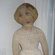 Antique Litho face & body cloth fabric doll 24""