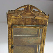 Antique dollhouse ormolu Erhard & Söhne miniature Art Deco mirrored curio cabinet