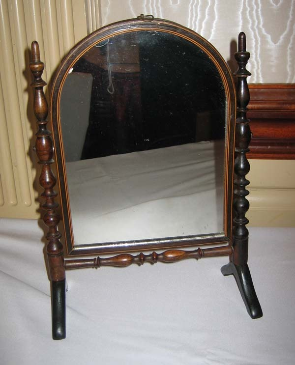 Large antique doll miniature furniture cheval mirror