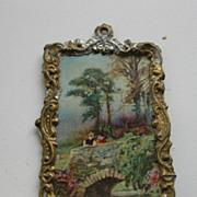 Antique German doll house gilt metal miniature picture Scenic bridge