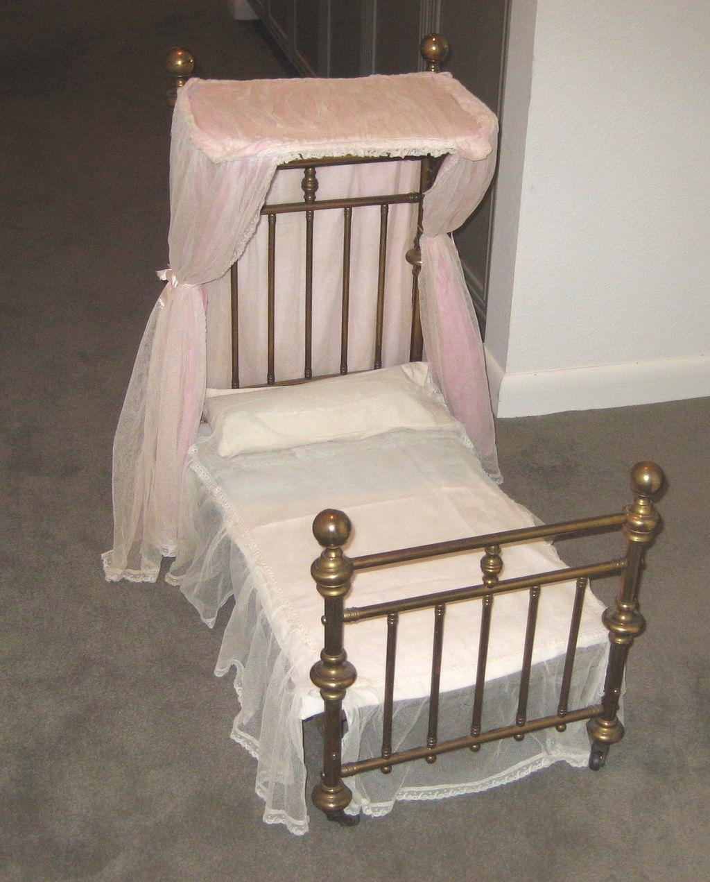 antique doll half tester canopy brass bed from sondrakruegerantiques