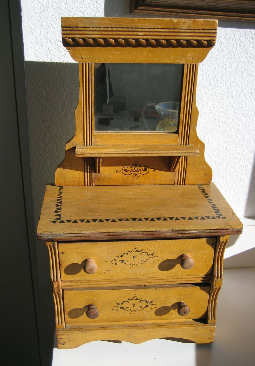 Stenciled Oak Antique Doll Dresser With Mirror From
