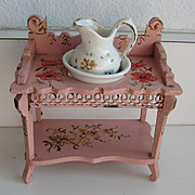 Antique Paul Leonhardt pink gilt floral miniature furniture small doll size set 3 piece