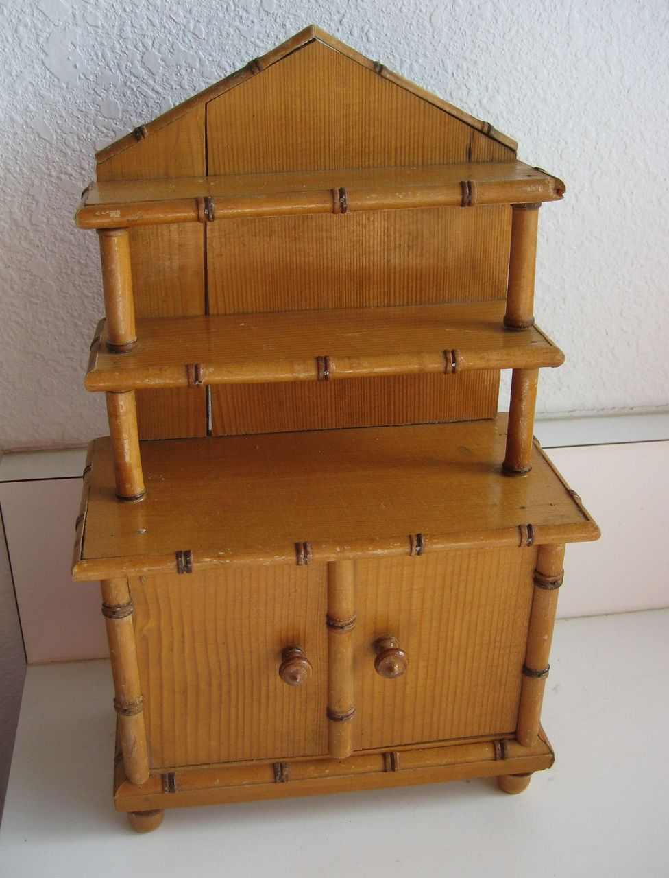 Antique Miniature French Maple Wood Faux Bamboo Doll Furniture Buffet From Sondrakruegerantiques