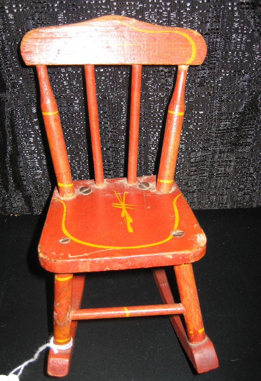 Antique Doll Wood Red Stenciled Chair From