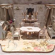 Antique Gottschalk French Miniature Dollhouse blue Parlor Roombox Mignonette display